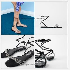 ZARA BLUE COLLECTION LEATHER SUEDE GEM SANDALS